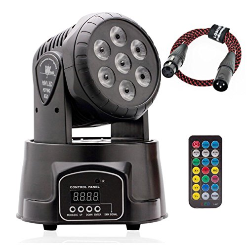 100W DMX512 LED Lichteffekte Discolicht Mini 4 in 1 RGBW Partylicht mit Professionell 9/14 5 Control Mode Moving Head für DJ, Disco,Club Partei,Draussen(mit Fernbedienung und DMX-Linie) (7led RGBW)