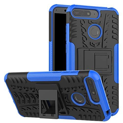 betterfon | Outdoor Handy Tasche Hybrid Case Schutz Hülle Panzer TPU Silikon Hard Cover Bumper für Huawei Y6 (2018) Blau (Handy Hard Case)