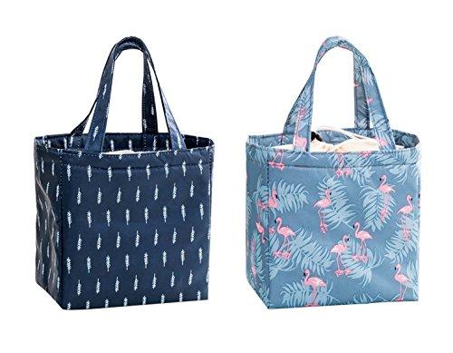 Isuperb 2 pezzi borsa termica impermeabile borsa porta pranzo portatile borsa frigo pranzo lunch bag per ufficio, scuola e picnic 20×20×13 cm (fenicotteri + foglie cadute)