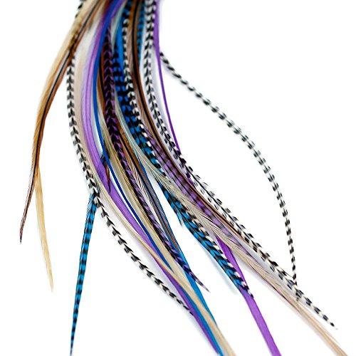 Feder-Haarverlängerung, echte Federn, Midnight Naturals