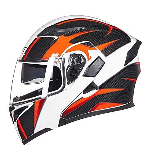 LAAL Motorradhelm Double Lens Anti-Fog-Helm Jethelm Integralhelm Komfortabler Schutzhelm Vier Jahreszeiten Erhältlich - Schwarzer Hungriger Wolf The Compressive (Size : XL) -