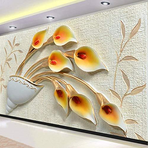 Pbldb Benutzerdefinierte 3D Stereo Geprägte Blumen Fototapete Wohnzimmer Schlafzimmer Moderne Einfache Wohnkultur Wandbild 3D-350X250Cm