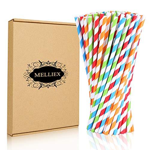 100 Pezzi Cannucce di Carta Biodegradabile Riciclabile Decorazioni di Cannuccia Per cocktail Festa Nozze Compleanno Festival, 4 colore strisce