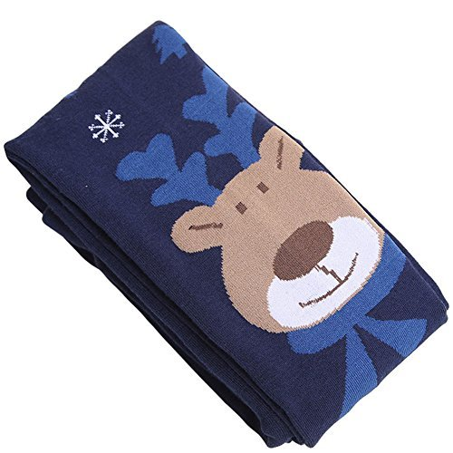Butterme Girls Kids Children Deer Pattern Thermal Winter Warm Long Socks Leggings Tight Pants Deep blue S - Great Christmas Gift