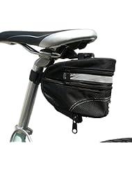 BTR - Alforja Bolsa Grande para Sillín de Bicicleta - Bolsa Extensible para Bicicleta con Cinta Reflectante de Alta Visibilidad y Hebilla de Liberación Rápida – Resistente al agua - Negra