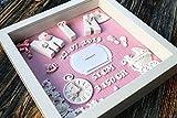 Geschenk für Baby Geburt Taufe Geburtstafel - 3D Bilderrahmen Personalisiert - Geschenkidee Neugeborene, Geburtsdaten, Geburtsbild, Namensschild - Mädchen