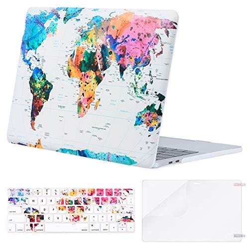 MOSISO MacBook Pro 15 Hülle A1990/A1707 Touch Bar, Hartschalen- und Tastaturabdeckung aus Kunststoff mit Displayschutzfolie für den neuesten Mac Pro 15 Zoll, Weltkarte (Neueste Mac Pro)