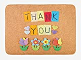BBABYY Thank You Bath Mat, Gratitude Themed Quote on The Little Hanging Papers Post It with Flowers Print, Plush Bathroom Decor Mat with Non Slip Backing, 23.6 W X 15.7 W inches, Multicolor