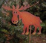 Edelrost Rentier auf Stab 19x14cm, inkl. Herz 8x6cm Gartenstecker Dekoration