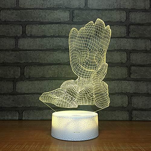 Yzgbl LED Nachtlicht 3D Illusion für Kinder Außenleuchte 7 Farben Acryl Acrylplatte Groot Creative Colorful remote control -