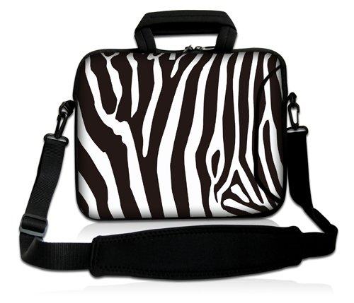 Luxburg® Design Laptoptasche Notebooktasche Sleeve mit Schultergurt und Fach für 15,6 Zoll, Motiv: Zebra