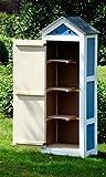 dobar schweres Gerätehaus aus Holz, Gartenschrank schon fertig aufgebaut, 61,5 x 41,5 x 185 cm,  blau / weiß - 3