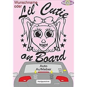 """""""Lil`Cutie on Board"""" oder Wunschname Fahrzeug-, Autoaufkleber, KFZ Sticker 10 cm*12 cm Mädchen, Baby fährt mit"""