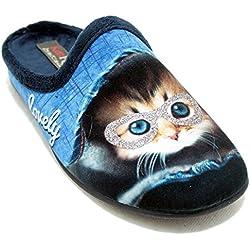KonPas 11002 - Zapatillas de Gato en Colores Azules y Adorno de Gafas Brillantes - Azul marino, 37