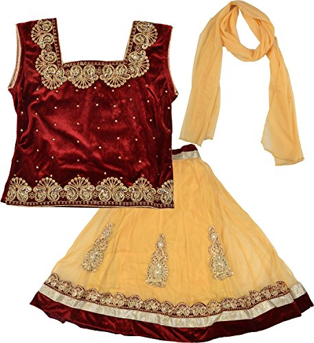Kid's Stop Girls' Blended Lehenga Choli Set (kist_goldmaroonlehenga.12, Multi-Coloured, 4-5 Years)