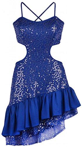 Eyekepper Damen Reizvoll Ruesche Saum unsymmetrisch Latin Traeger tanzenkleid Blau