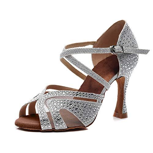 Syrads Zapatos de Baile Latino para Mujer Salsa Tango Bachata Vals con Pedrería...