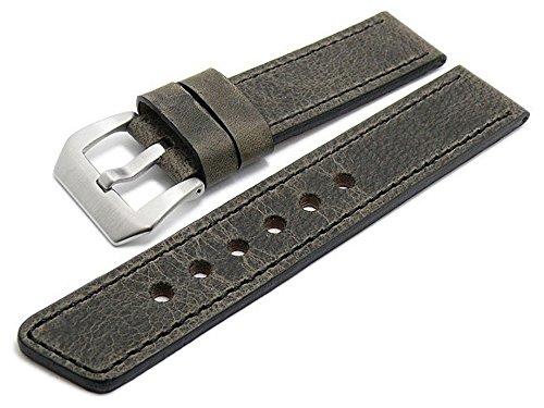 Meyhofer Uhrenband Laredo Special 20mm dunkelgrau Leder Antik-Look Schwarze Naht MyFcslc367/20mm/dgrau/schwN