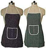#4: Kuber Industries™ Multi Check Design Waterproof Kitchen Apron With Front Pocket Set of 2 Pcs (Code- Ap014)