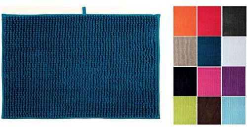 MSV Badteppich Badvorleger Duschvorleger Chenille Hochflor Badematte 40x60 cm – Blau