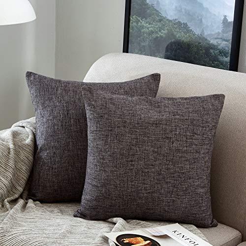 Mernette confezione da 2, cotone biancheria decorativo quadrato federa cuscino set custodia per divano letto auto 45x45 cm