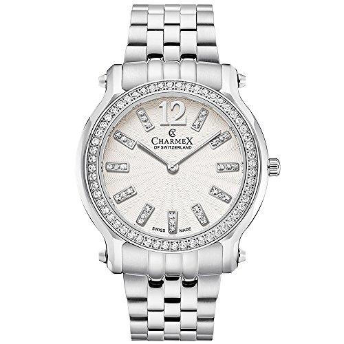 Charmex Women's Eze 31.5mm Steel Bracelet & Case Quartz White Dial Watch 6355