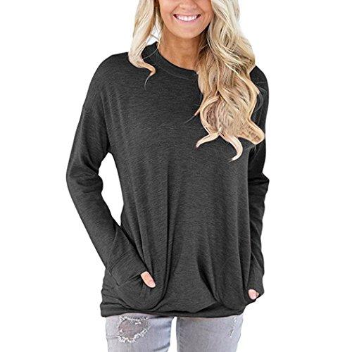 Damen Langarm Shirt Sunday Lässig Baumwolle Solide Lose Taschen T-Shirt Blusen Tops (Schwarz, M) (Sie T-shirt Tee Zeigen Schwarzen)