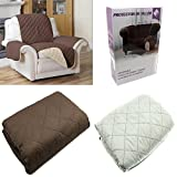 FUNDA CUBIERTA PARA SOFA REVERSIBLE CUBRIR SOFA SILLON COLOR MARRON Y BEIGE PROTECTOR SOFA 1 PLAZA...
