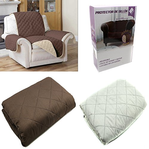 FUNDA CUBIERTA PARA SOFA REVERSIBLE CUBRIR SOFA SILLON COLOR MARRON Y BEIGE...