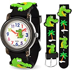 Bling Jewelry Black Alligator Palm Tree Animal Kids Watch Stainless Steel Back