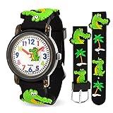 Bling Jewelry Bling Jewelry 3D-Krokodil Alligator wasserdicht Armbanduhr Zeit Lehrer Quarz Cartoon schwarz Silikon Armband runde Bunte Wählen