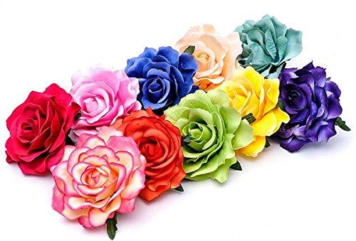 Sposa fiori per capelli grande fiore testa drachensilber capelli fiore fermaglio per capelli con accessori spille di sicurezza da donna Flower fiori, Metallo, colore: rosso scuro, cod. WDE-00922