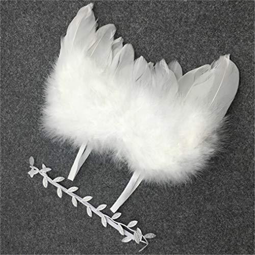Eleusine Neugeborenes Baby Engel Federflügel Blätter Stirnband Haar Stirnbänder Fotografie Requisiten Kostüm Geburtstagsgeschenk Set (Stil 1)