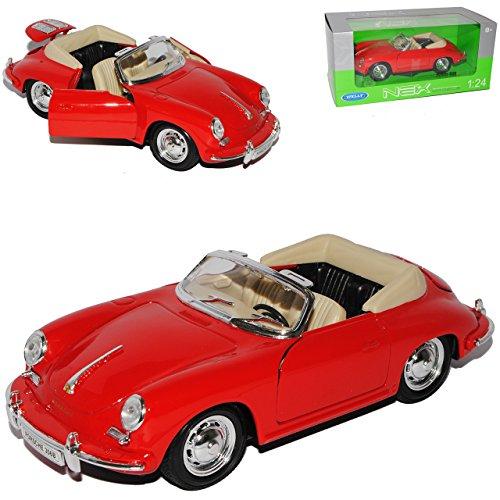 Welly Porsche 356B Cabrio Rot Offen 1959-1963 1/24 Modell Auto mit individiuellem Wunschkennzeichen