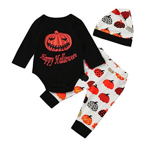 BURFLY Kinderkleidung ♥Jungen-Halloween-Kürbis-Baumwollmischungs-Druck-Buchstabe 3Pcs gesetztes Kleid Tops + Hosen + Hut (100, Schwarz) (Katze In Den Hut Partei Ideen)