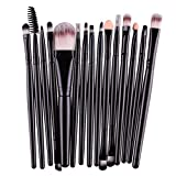Eouine 15 Stück Make Up Pinsel Set Professionelle Schminkpinsel Kosmetikpinsel Makeup Brushes Set Profi Lidschatten Gesichtspinsel Eyeliner Augenbraue Lippen Puder Cremige Foundation Bürste Kit (Schwarz)