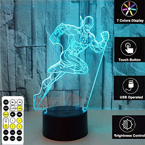 (ZRR 3D Laufender Mann Spielzeug Dekor LED Nachtlicht Mit Fernbedienung Timer, 7 RGB-Farben Smart Touch Einstellbare Helligkeit, Geburtstagsgeschenk Dekoration FüR Junge)