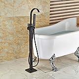 Galvanik Retro Wasserhahn Freistehende einzigen Griff Badewanne Armatur Set Bad Badewanne mit Handdusche Einfüllstutzen Öl eingerieben Bronze, Weiß