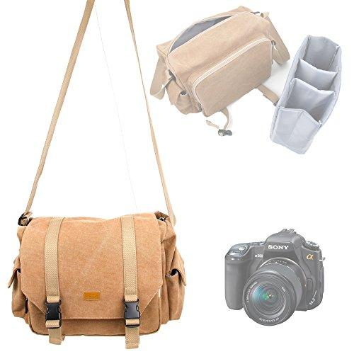 """Sacoche en toile beige """"vintage"""" pour tous les appareils photos Sony Alpha dont 7R, 7S, A5000, A6000, A7 et A7 II, AR et A99, A3000, A77 - compartiments ajustables pour les accessoires, par DURAGADGET"""