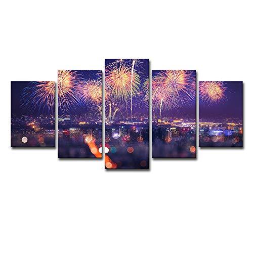 QYY Hauptdekorations-Wandbild-Leinwand-Kunst-neues Jahr-Stadt-Feuerwerks-Hintergrund-Hauptdekorations-Malerei,L - Neue Leinwand Kunst