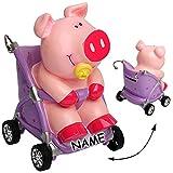 alles-meine GmbH Große Spardose -  Süßes Baby Schwein im Kinderwagen  - inkl. Name - mit Schl..