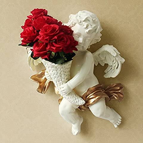CACH Wall flower basket European resin vase creative angel wall wall decoration ( Color : C )