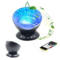 Projector Night Light,Top-Spring Remote Control Multi-colored Ocean Wave Night Light Projector with Built-in Music Player LED Projection Lamp Decorative Light with 7 Lighting Mode, Baby Kids Adult Bedroom Nursery Birthday Gift from Top-Spring