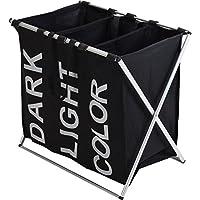 Spetebo Wäschesammler 3 Fächer - schwarz - Wäschesortierer Wäschekorb Wäschesack faltbar