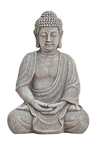 Großer Amithaba Buddha sitzend 20 x 17 x 30 cm Dhyani Figur Grau Buddhismus