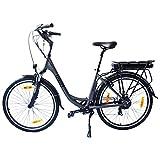 Fitifito Amsterdam 26 Zoll Elektrofahrrad Citybike E-Bike Pedelec, 36V 250W Bafang Heckmotor, 7 Gang Shimano Schaltung, Matt Grau Schwarz (City Ebike)