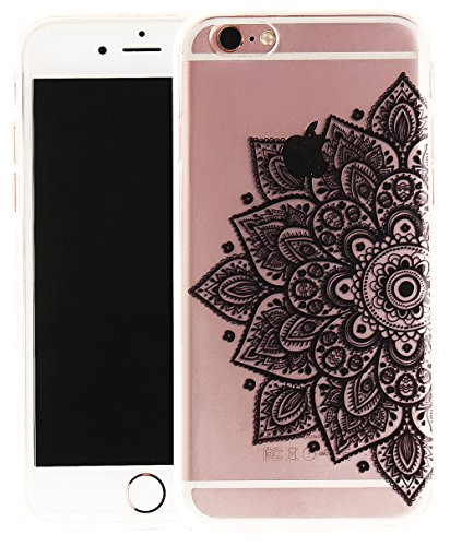 Nnopbeclik Silikon Transparent Hülle Für Apple Iphone 6 / 6S, Ultra Slim Weich TPU Cover Case Neu Design Super Durchsichtig Hohl Luxus Bling Blume Case Etui, Schutzhülle Muster Glänzend Glitzer Strass #21