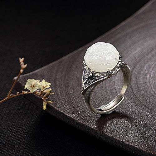 DTZH Ringe im Set S925 reines Silber eingelegte natürliche Jade White Lotus Belle Plaine Stil einfache literarische Ring Geschenk an Liebe Menschen, Feriengeschenk