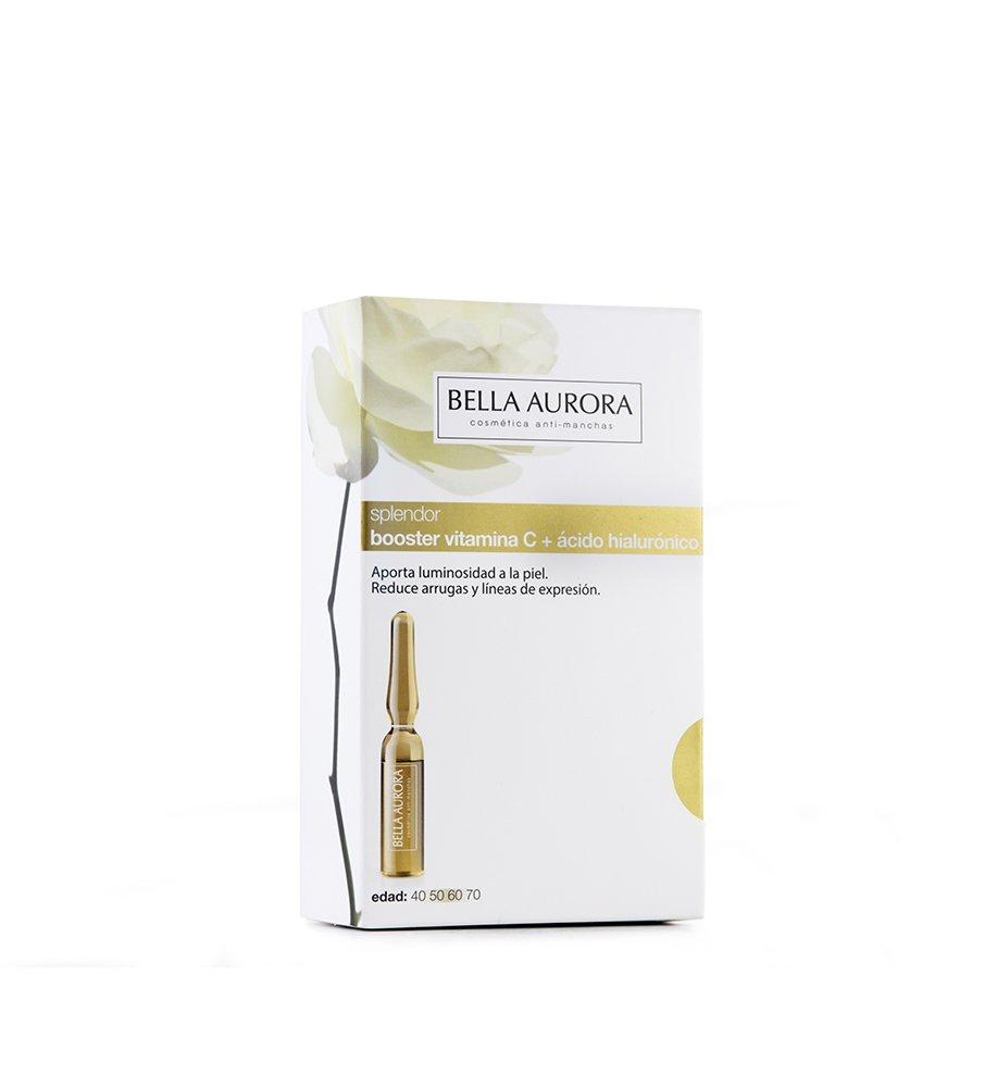 Bella Aurora Splendor Booster Vitamina C + con Ácido Hialurónico Anti-Arrugas para Mujer Tratamiento Anti-Edad Sin Parabenos, 5 Ampollas Faciales