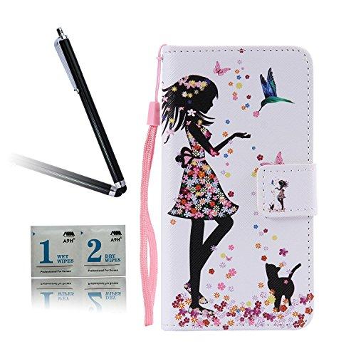 ARTLU® BQ Aquarius M5.0 Schlinge Taschen Schalen PU Leder Tasche Schutzhülle Hülle Handy Etui Schale mit Ständerfunktion und Kreditkartenfächer für BQ Aquaris M5 (5.0 inches)A02